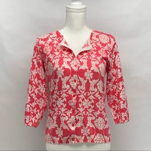 August Silk Pink Pattern Cardigan